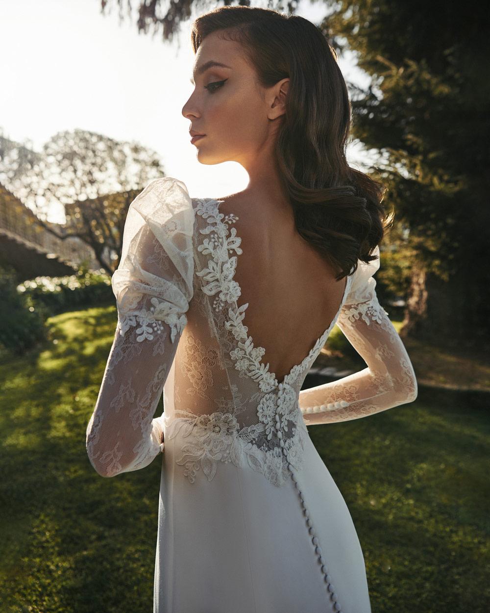 vestido de novia silvia fernandez LUA hombro abullonado