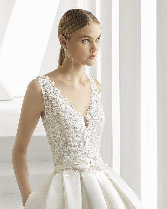 vestido de novia rosa clara dot dot escote pico