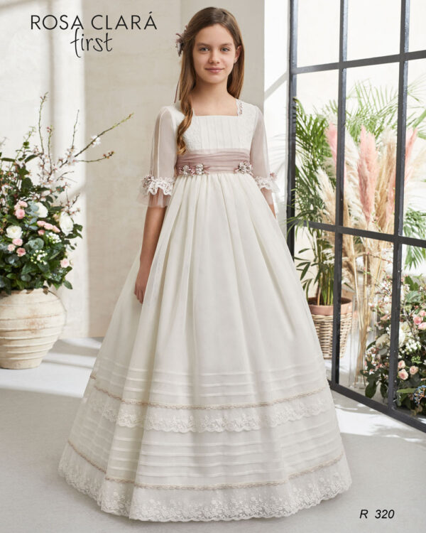 Vestido comunión Rosa Clará romántico