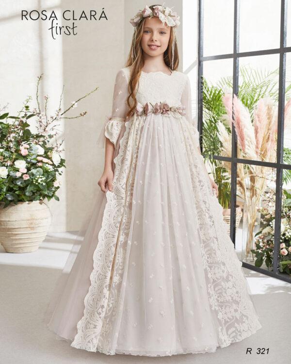 Vestido comunión romántico Rosa Clará
