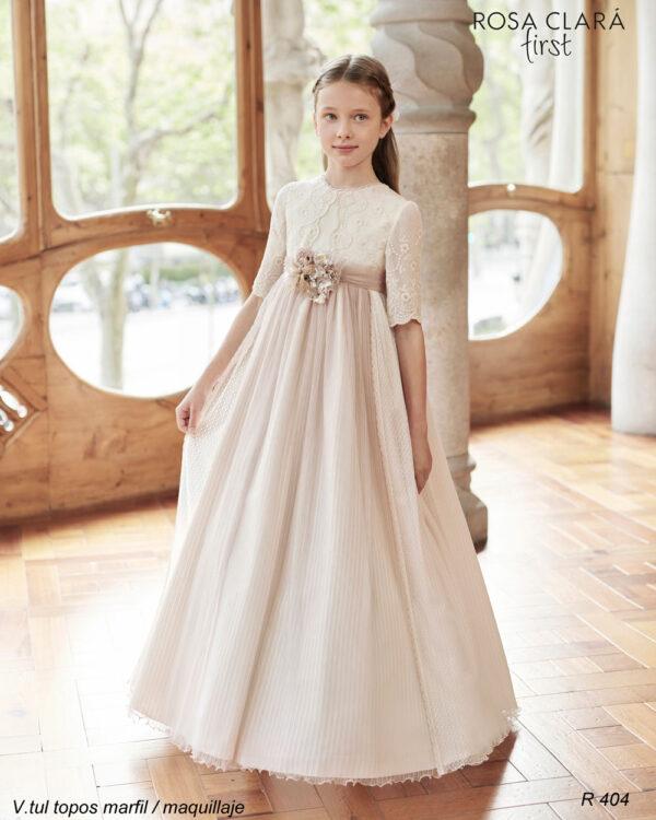 Vestido comunión romantico Rosa Clará 404